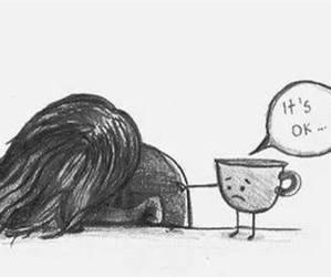 sad, coffee, and cup image