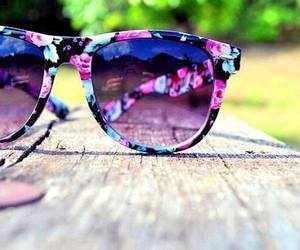 sunglasses, summer, and flowers image