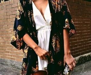 black, kimono, and outfit image