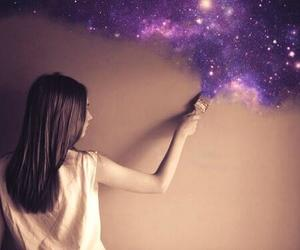 brunette, girl, and galaxy image