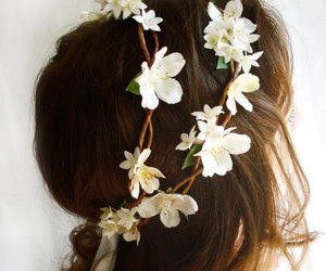 flowers, hair, and brunette image