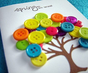tree, buttons, and spring image
