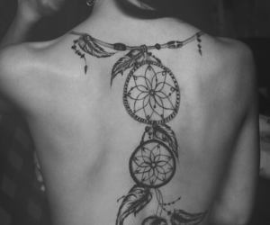 dreamcatcher, tatto, and girl image