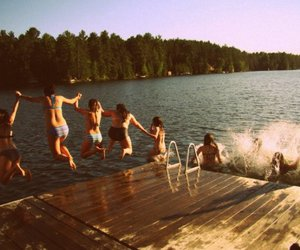 dock, girls, and jump image
