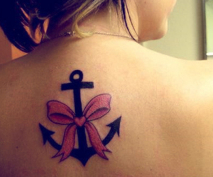 anchor tattoo, back tattoo, and girl image