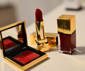 red, lipstick, and makeup image