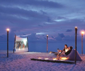 beach, couple, and romantic image