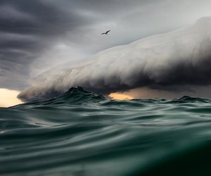 ocean, storm, and clouds image