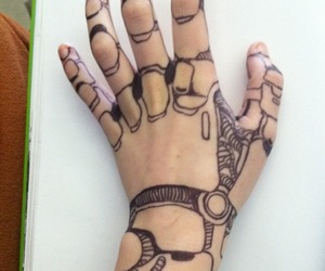 drawing, hand, and robot image