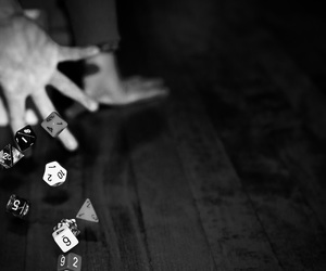 b&w, dice, and luck image