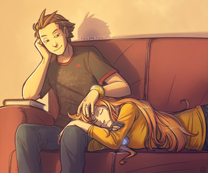 couple, sofa, and tired image