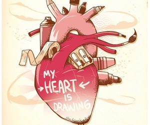 drawing, heart, and colors image
