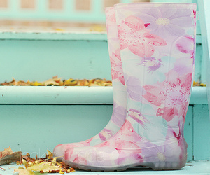 boots, flower, and rain image