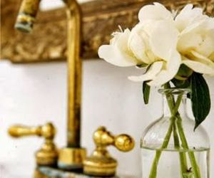 bathroom, flowers, and decor image