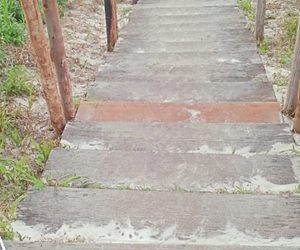 beach, stairs, and wood image