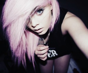 girl, cute, and pink hair image