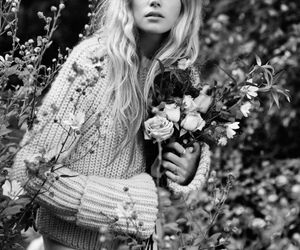 model, gabriella wilde, and flowers image