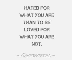 be yourself, fake, and hate image