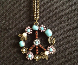 necklace, peace, and flowers image