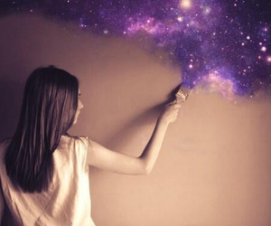 art, galaxy, and girl image