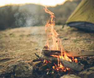 camping, fire, and travel image