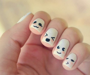 nails, white, and face image