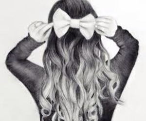 beauty, black and white, and bow image
