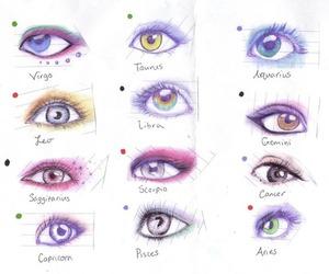 eyes, drawing, and zodiac image