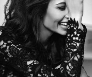 smile, black and white, and model image