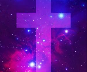 galaxy, wallpaper, and cross image