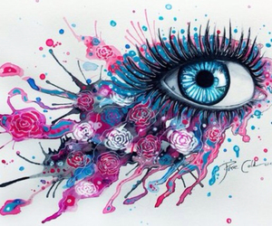 blue eye, pink, and purple image