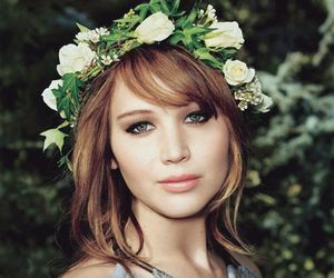 actress, jlaw, and flowers image