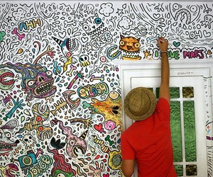 art, boy, and wall image