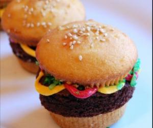 cupcake, burger, and hamburger image