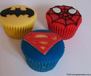 batman, cupcake, and spiderman image