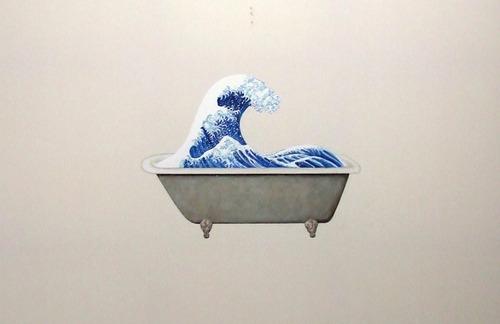 art, wave, and bathtub image