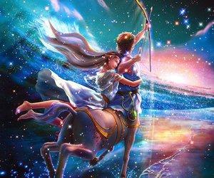 Sagittarius, zodiac, and fantasy image
