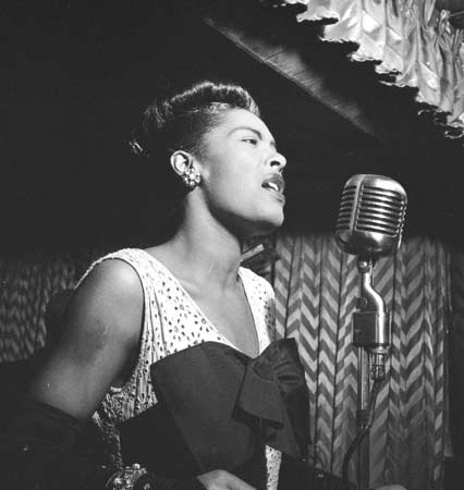 billie holiday, singing, and musician image