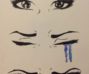 art, cry, and watercolor image