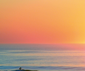 sunset, surf, and beach image