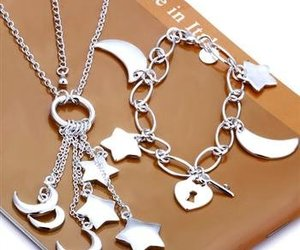 fashion jewelry, silver jewelry, and moon necklace image