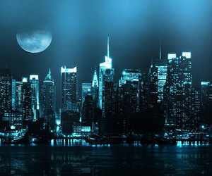 city, Cityscapes, and full moon image