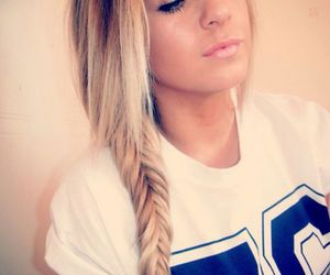 hair, fishtail, and blonde image