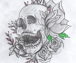 rose, skull, and drawing image