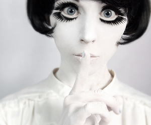 eyes, black and white, and doll image