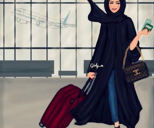 black, chanel, and hijab image