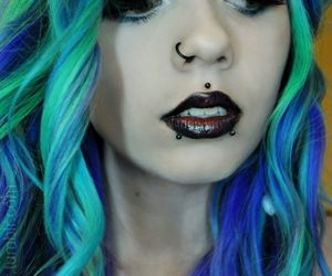 piercing, color, and hair image