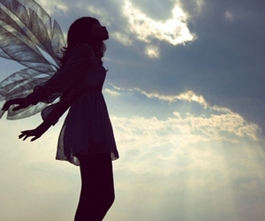 girl, sky, and wings image