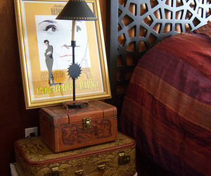 audrey, suitcase, and bedside image