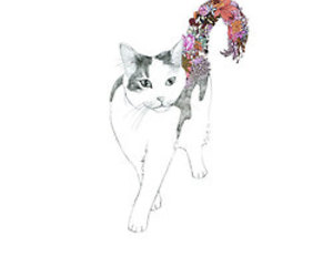 animal, cat, and drawing image